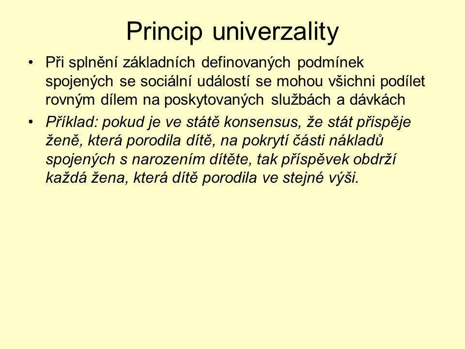 Princip univerzality Při splnění základních definovaných podmínek spojených se sociální událostí se mohou všichni podílet rovným dílem na poskytovanýc