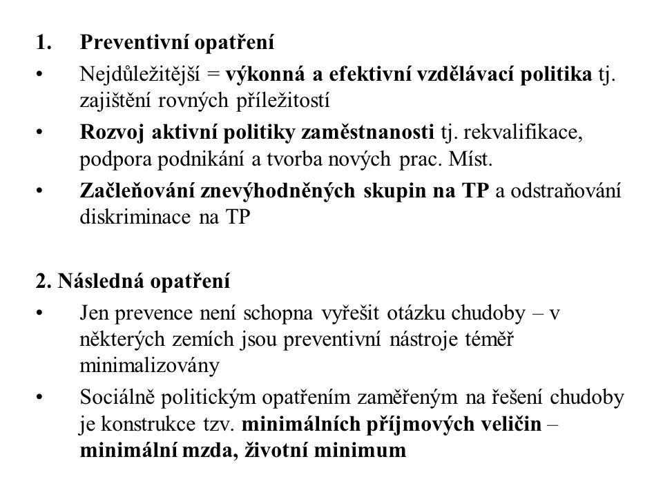 1.Preventivní opatření Nejdůležitější = výkonná a efektivní vzdělávací politika tj.