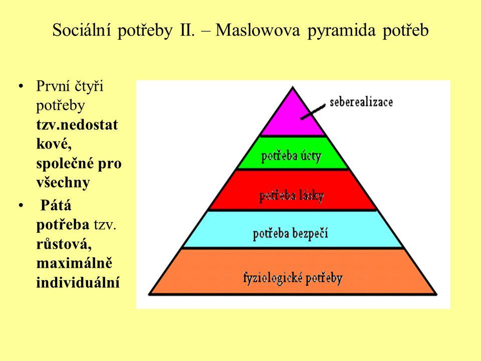 Sociální potřeby II. – Maslowova pyramida potřeb První čtyři potřeby tzv.nedostat kové, společné pro všechny Pátá potřeba tzv. růstová, maximálně indi