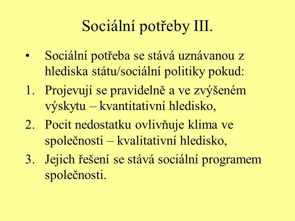 Sociální potřeby III. Sociální potřeba se stává uznávanou z hlediska státu/sociální politiky pokud: 1.Projevují se pravidelně a ve zvýšeném výskytu –
