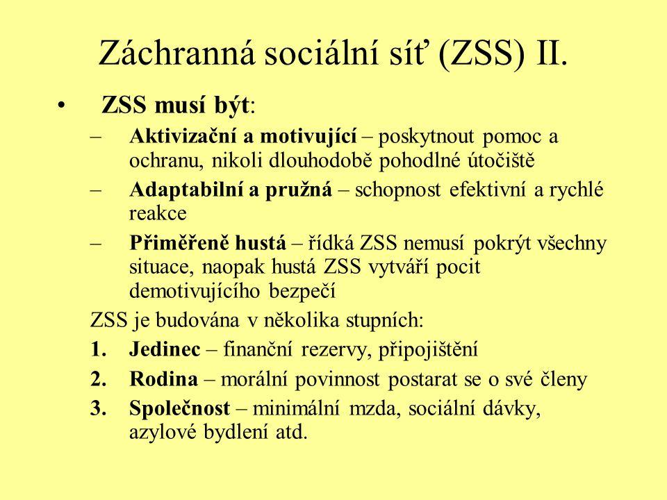 Záchranná sociální síť (ZSS) II. ZSS musí být: –Aktivizační a motivující – poskytnout pomoc a ochranu, nikoli dlouhodobě pohodlné útočiště –Adaptabiln