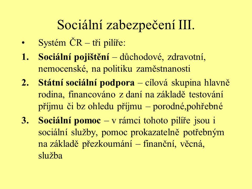Sociální zabezpečení III. Systém ČR – tři pilíře: 1.Sociální pojištění – důchodové, zdravotní, nemocenské, na politiku zaměstnanosti 2.Státní sociální