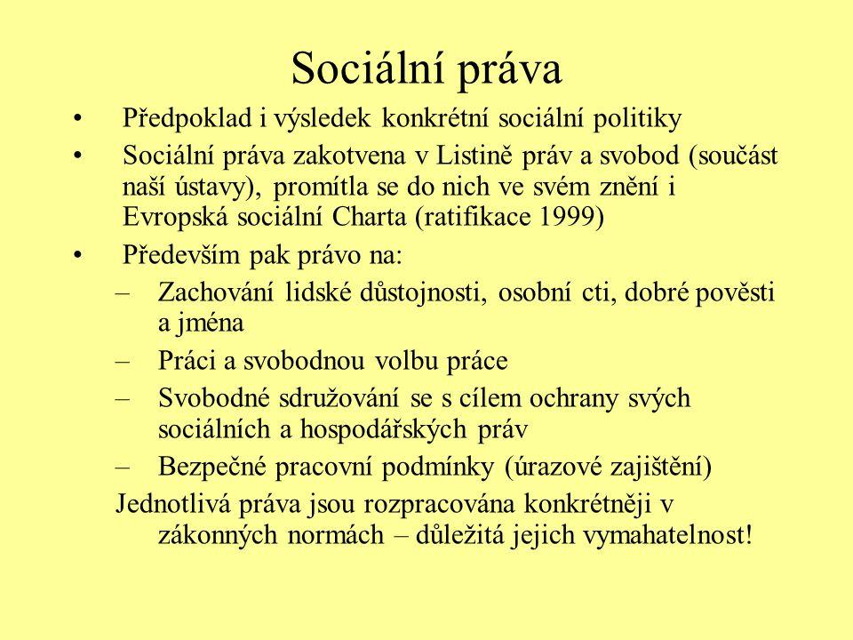 Sociální práva Předpoklad i výsledek konkrétní sociální politiky Sociální práva zakotvena v Listině práv a svobod (součást naší ústavy), promítla se d