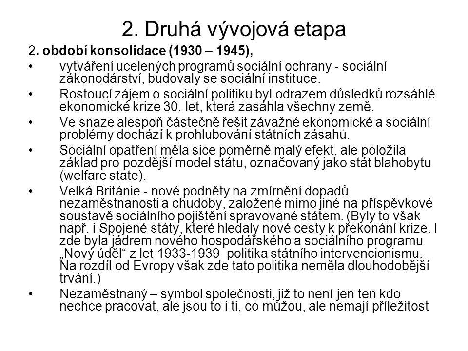 2. Druhá vývojová etapa 2. období konsolidace (1930 – 1945), vytváření ucelených programů sociální ochrany - sociální zákonodárství, budovaly se sociá