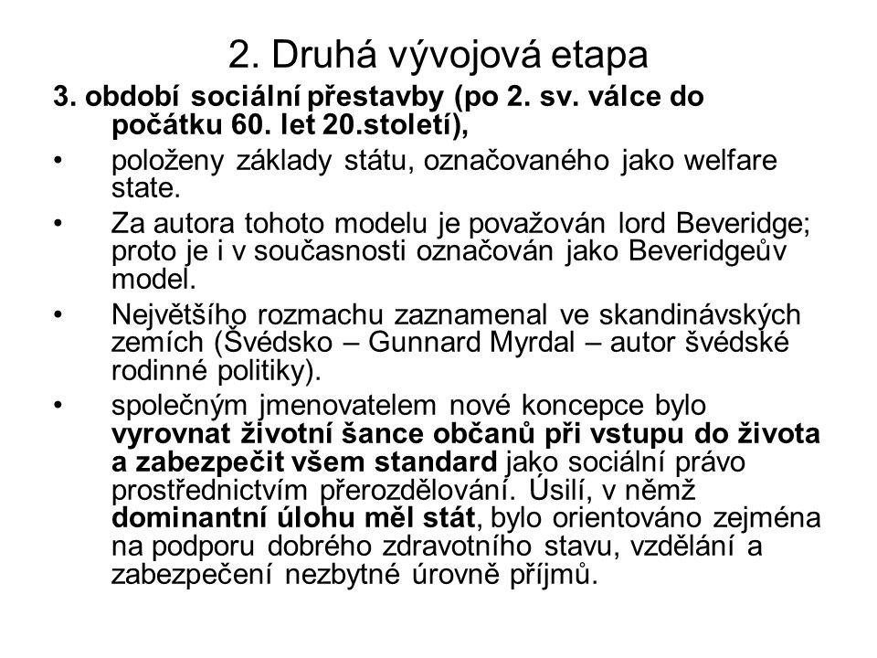 2. Druhá vývojová etapa 3. období sociální přestavby (po 2. sv. válce do počátku 60. let 20.století), položeny základy státu, označovaného jako welfar