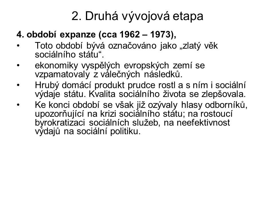 """2. Druhá vývojová etapa 4. období expanze (cca 1962 – 1973), Toto období bývá označováno jako """"zlatý věk sociálního státu"""". ekonomiky vyspělých evrops"""