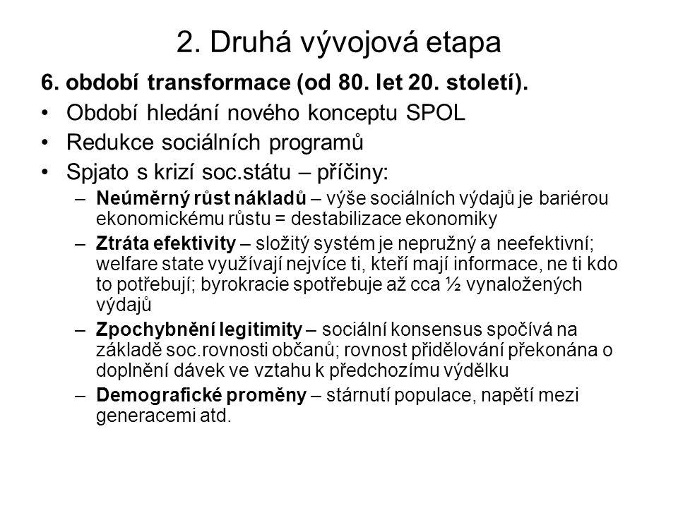 2. Druhá vývojová etapa 6. období transformace (od 80. let 20. století). Období hledání nového konceptu SPOL Redukce sociálních programů Spjato s kriz