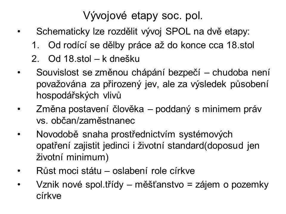 Vývojové etapy soc. pol. Schematicky lze rozdělit vývoj SPOL na dvě etapy: 1.Od rodící se dělby práce až do konce cca 18.stol 2.Od 18.stol – k dnešku