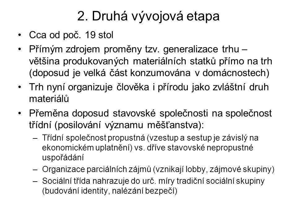 2. Druhá vývojová etapa Cca od poč. 19 stol Přímým zdrojem proměny tzv. generalizace trhu – většina produkovaných materiálních statků přímo na trh (do