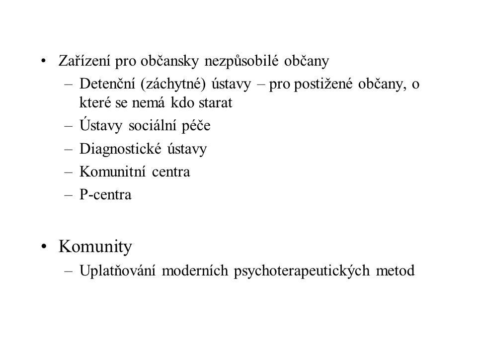 Zařízení pro občansky nezpůsobilé občany –Detenční (záchytné) ústavy – pro postižené občany, o které se nemá kdo starat –Ústavy sociální péče –Diagnostické ústavy –Komunitní centra –P-centra Komunity –Uplatňování moderních psychoterapeutických metod