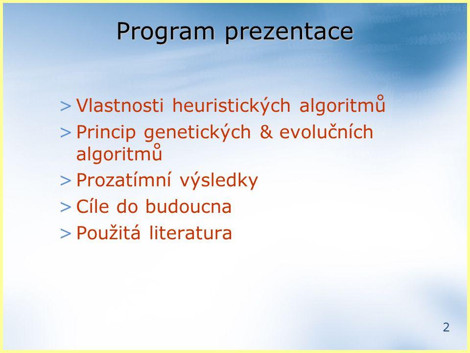 2 Program prezentace >Vlastnosti heuristických algoritmů >Princip genetických & evolučních algoritmů >Prozatímní výsledky >Cíle do budoucna >Použitá literatura