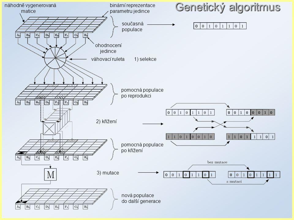náhodně vygenerovaná matice Genetický algoritmus binární reprezentace parametru jedince současná populace ohodnocení jedince váhovací ruleta 1) selekce pomocná populace po reprodukci 2) křížení pomocná populace po křížení 3) mutace nová populace do další generace