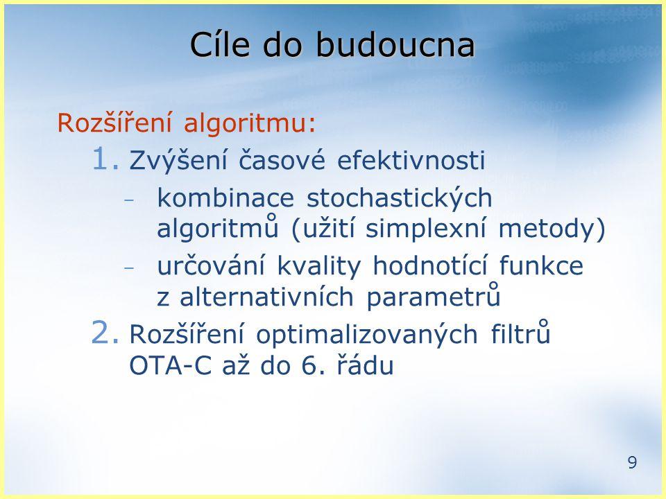9 Cíle do budoucna Rozšíření algoritmu: 1.