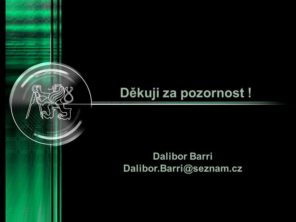 Děkuji za pozornost ! Dalibor Barri Dalibor.Barri@seznam.cz