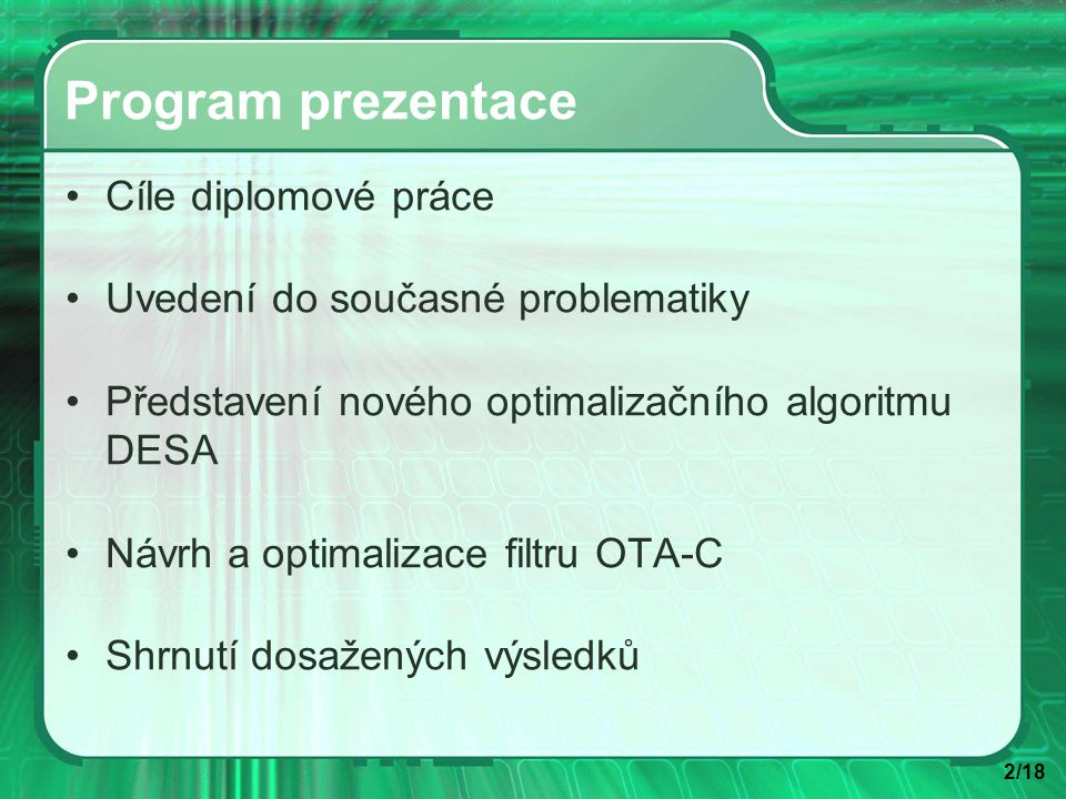 13/18 Přenosová funkce reálného a ideálního filtru OTA-C