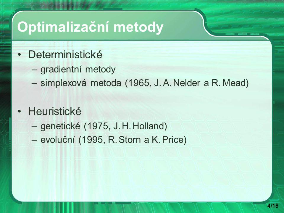 4/18 Optimalizační metody Deterministické –gradientní metody –simplexová metoda (1965, J.