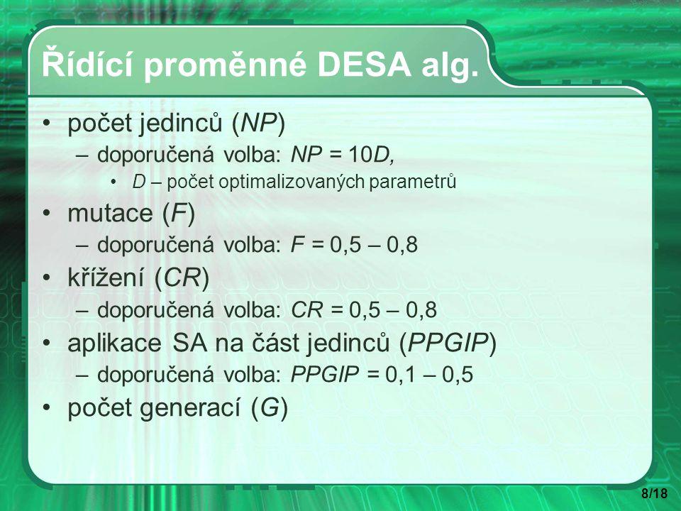 8/18 Řídící proměnné DESA alg.