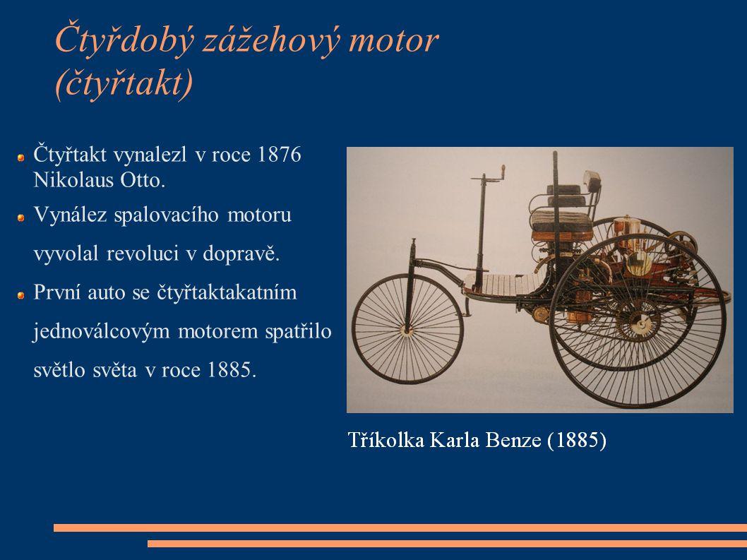 Čtyřdobý zážehový motor (čtyřtakt) Čtyřtakt vynalezl v roce 1876 Nikolaus Otto. Vynález spalovacího motoru vyvolal revoluci v dopravě. První auto se č