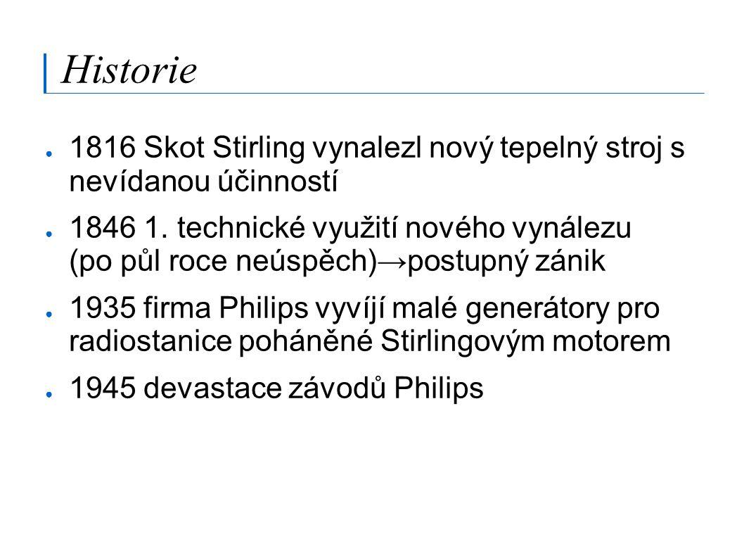 Historie ● 1816 Skot Stirling vynalezl nový tepelný stroj s nevídanou účinností ● 1846 1. technické využití nového vynálezu (po půl roce neúspěch)→pos