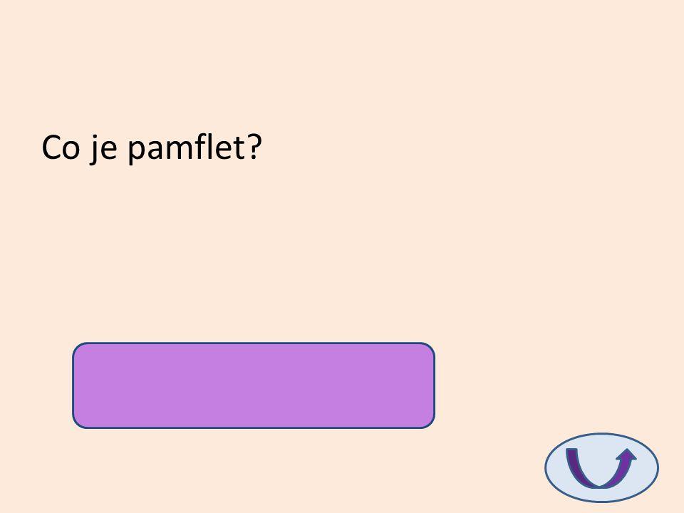 Co je pamflet? hanopis