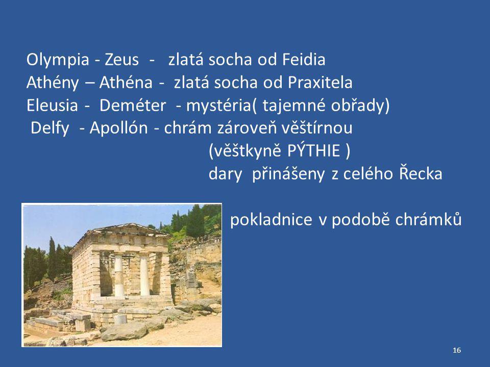 16 Olympia - Zeus - zlatá socha od Feidia Athény – Athéna - zlatá socha od Praxitela Eleusia - Deméter - mystéria( tajemné obřady) Delfy - Apollón - chrám zároveň věštírnou (věštkyně PÝTHIE ) dary přinášeny z celého Řecka pokladnice v podobě chrámků