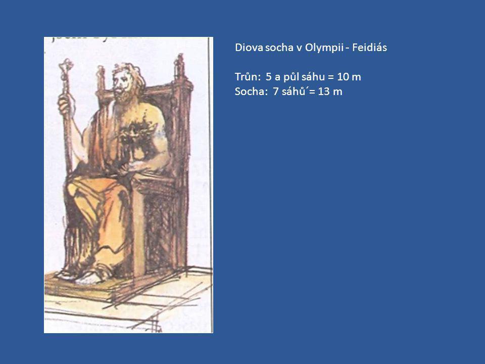Diova socha v Olympii - Feidiás Trůn: 5 a půl sáhu = 10 m Socha: 7 sáhů´= 13 m