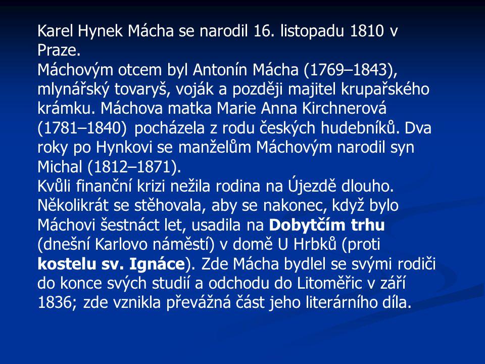 Socha Karla Hynka Máchy v petřínském parku od J.V.