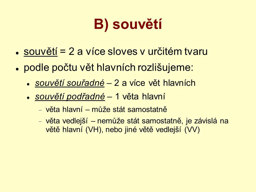 B) souvětí souvětí = 2 a více sloves v určitém tvaru podle počtu vět hlavních rozlišujeme: souvětí souřadné – 2 a více vět hlavních souvětí podřadné –