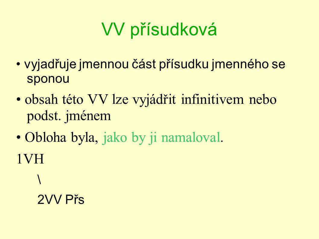 VV přísudková vyjadřuje jmennou část přísudku jmenného se sponou obsah této VV lze vyjádřit infinitivem nebo podst. jménem Obloha byla, jako by ji nam