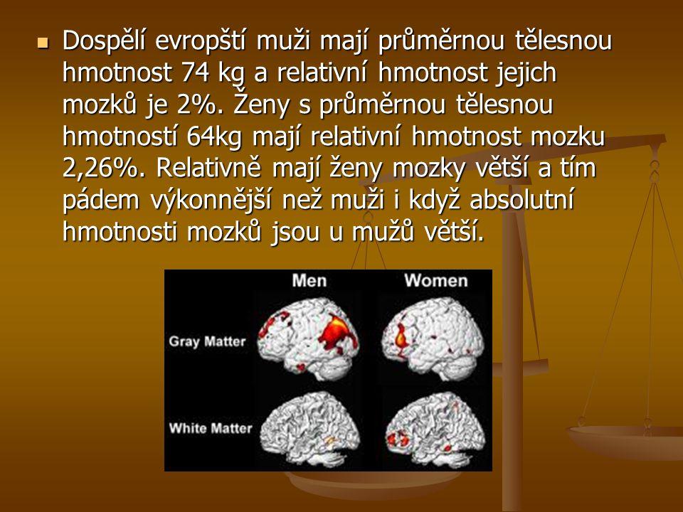 Dospělí evropští muži mají průměrnou tělesnou hmotnost 74 kg a relativní hmotnost jejich mozků je 2%. Ženy s průměrnou tělesnou hmotností 64kg mají re