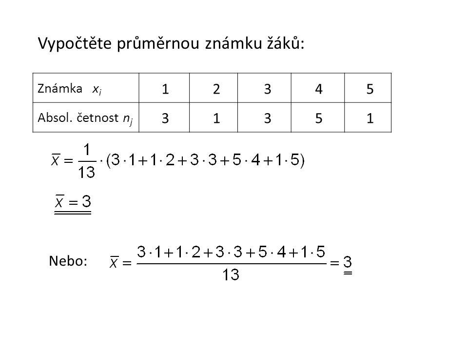 Známka x i Absol. četnost n j Vypočtěte průměrnou známku žáků: 1 2 3 4 5 3 1 3 5 1 Nebo: