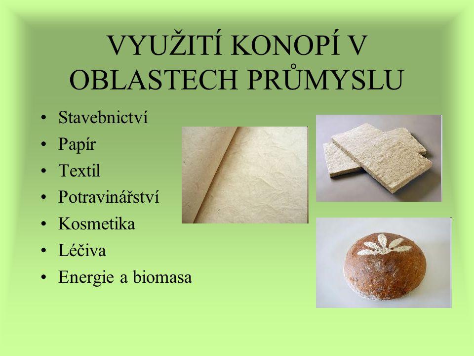 VYUŽITÍ KONOPÍ V OBLASTECH PRŮMYSLU Stavebnictví Papír Textil Potravinářství Kosmetika Léčiva Energie a biomasa