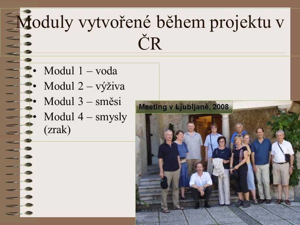 Moduly vytvořené během projektu v ČR Modul 1 – voda Modul 2 – výživa Modul 3 – směsi Modul 4 – smysly (zrak) Meeting v Ljubljaně, 2008