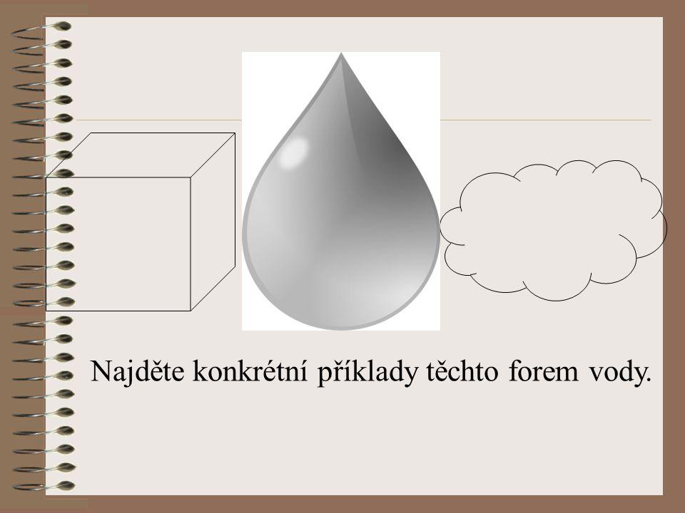 Najděte konkrétní příklady těchto forem vody.