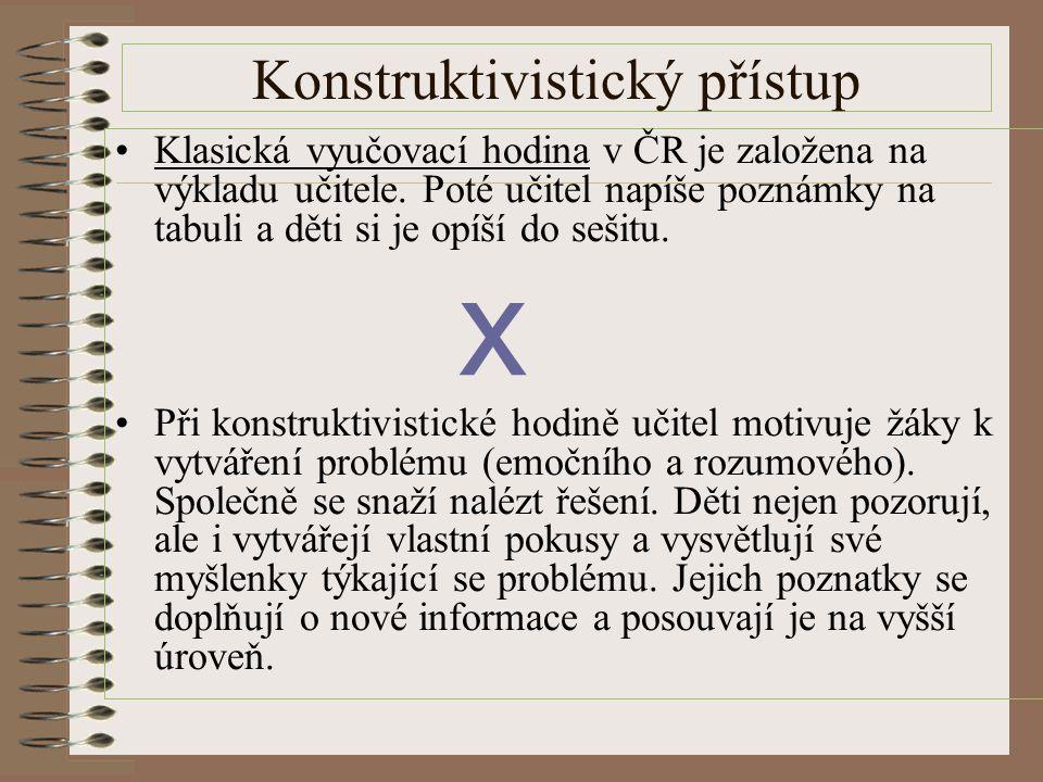 Konstruktivistický přístup Klasická vyučovací hodina v ČR je založena na výkladu učitele. Poté učitel napíše poznámky na tabuli a děti si je opíší do