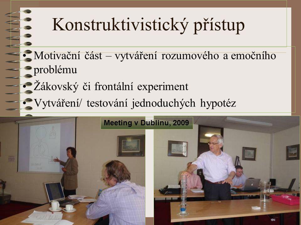 Konstruktivistický přístup Motivační část – vytváření rozumového a emočního problému Žákovský či frontální experiment Vytváření/ testování jednoduchýc