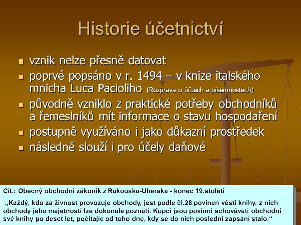 Historie účetnictví vznik nelze přesně datovat vznik nelze přesně datovat poprvé popsáno v r. 1494 – v knize italského mnicha Luca Pacioliho (Rozprava