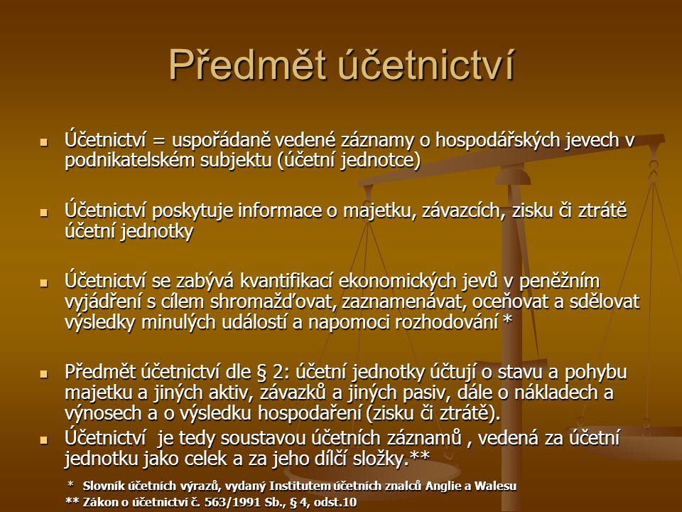 Předmět účetnictví Účetnictví = uspořádaně vedené záznamy o hospodářských jevech v podnikatelském subjektu (účetní jednotce) Účetnictví = uspořádaně v
