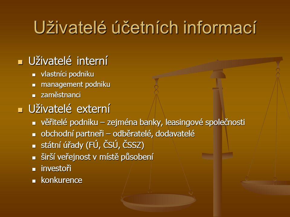 Uživatelé účetních informací Uživatelé interní Uživatelé interní vlastníci podniku vlastníci podniku management podniku management podniku zaměstnanci