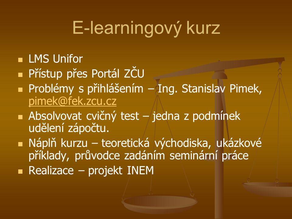 E-learningový kurz LMS Unifor Přístup přes Portál ZČU Problémy s přihlášením – Ing. Stanislav Pimek, pimek@fek.zcu.cz pimek@fek.zcu.cz Absolvovat cvič