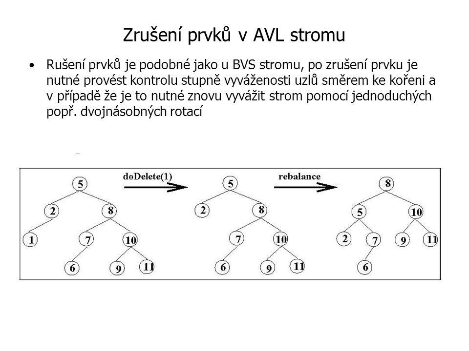 Zrušení prvků v AVL stromu Rušení prvků je podobné jako u BVS stromu, po zrušení prvku je nutné provést kontrolu stupně vyváženosti uzlů směrem ke koř