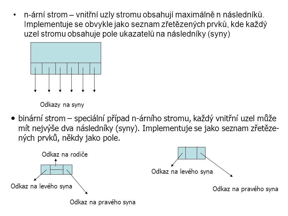 n-ární strom – vnitřní uzly stromu obsahují maximálně n následníků. Implementuje se obvykle jako seznam zřetězených prvků, kde každý uzel stromu obsah