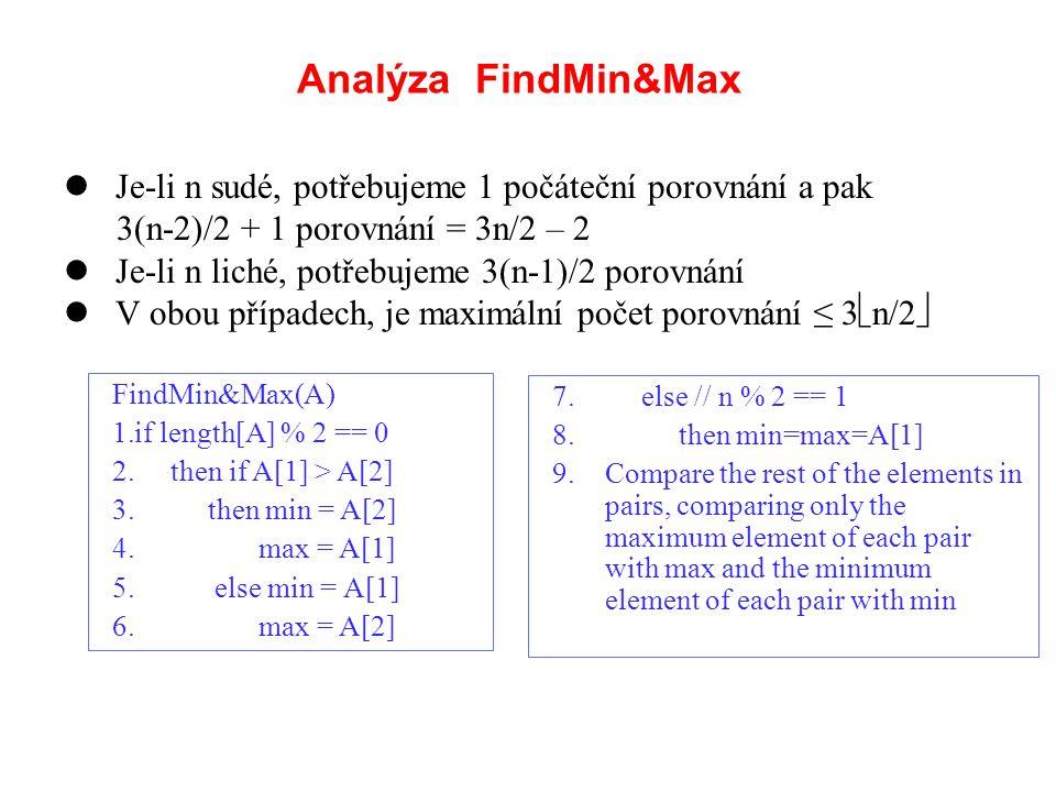 Analýza FindMin&Max Je-li n sudé, potřebujeme 1 počáteční porovnání a pak 3(n-2)/2 + 1 porovnání = 3n/2 – 2 Je-li n liché, potřebujeme 3(n-1)/2 porovn
