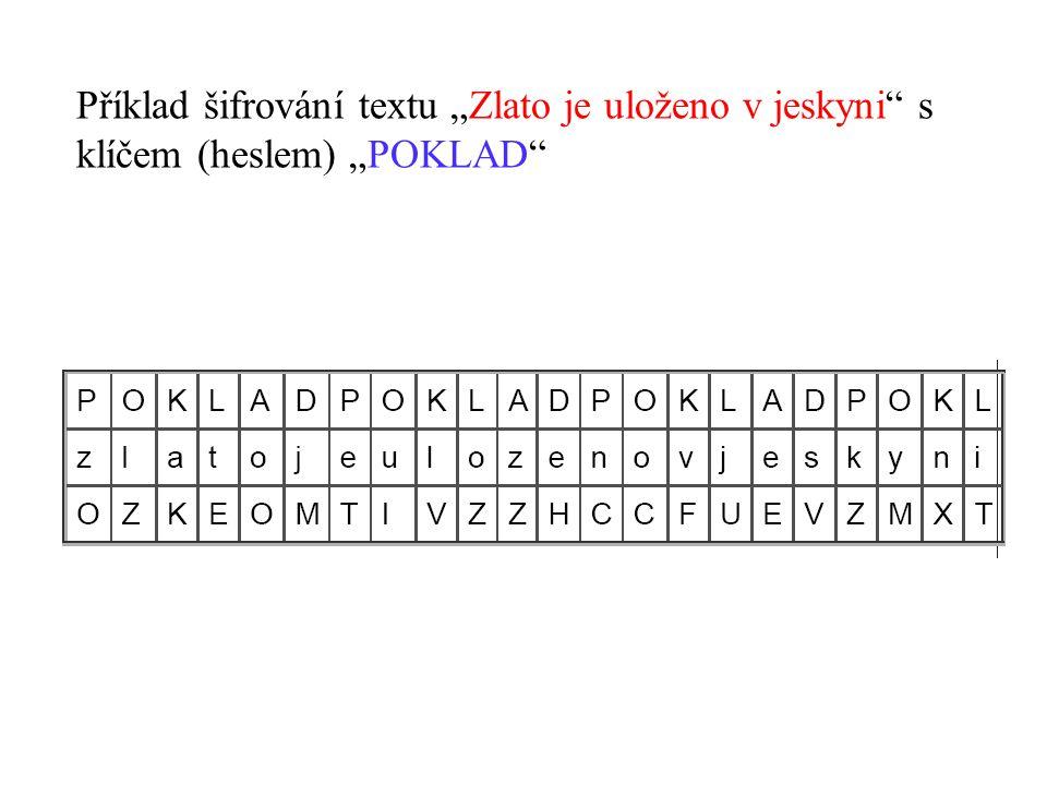 """Příklad šifrování textu """"Zlato je uloženo v jeskyni"""" s klíčem (heslem) """"POKLAD"""""""