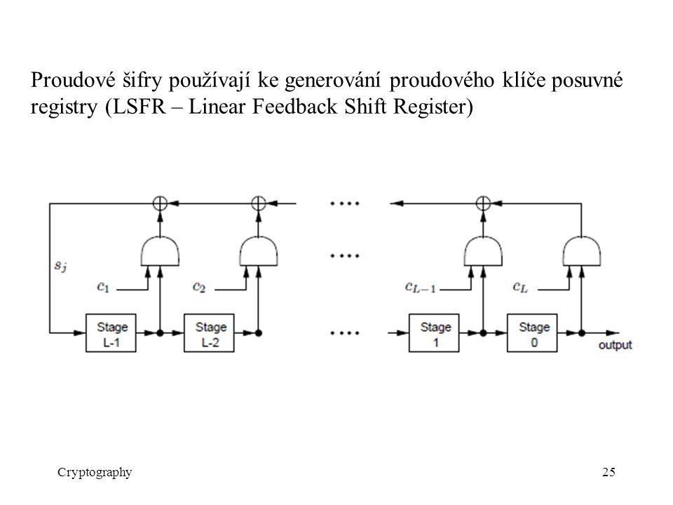 Cryptography25 Proudové šifry používají ke generování proudového klíče posuvné registry (LSFR – Linear Feedback Shift Register)