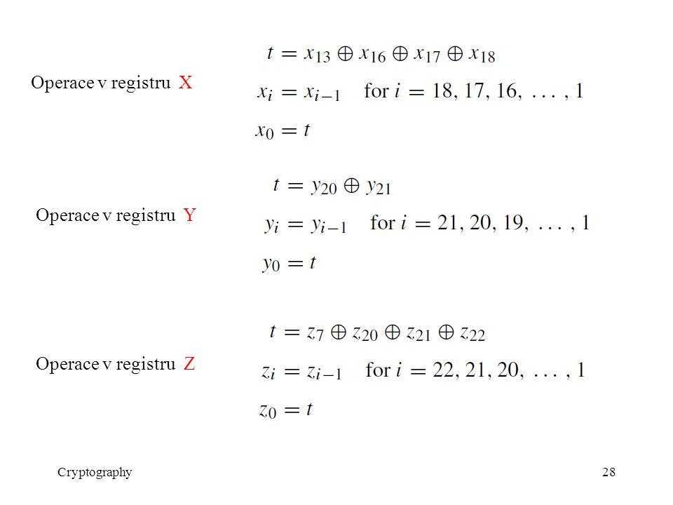 Cryptography28 Operace v registru X Operace v registru Y Operace v registru Z