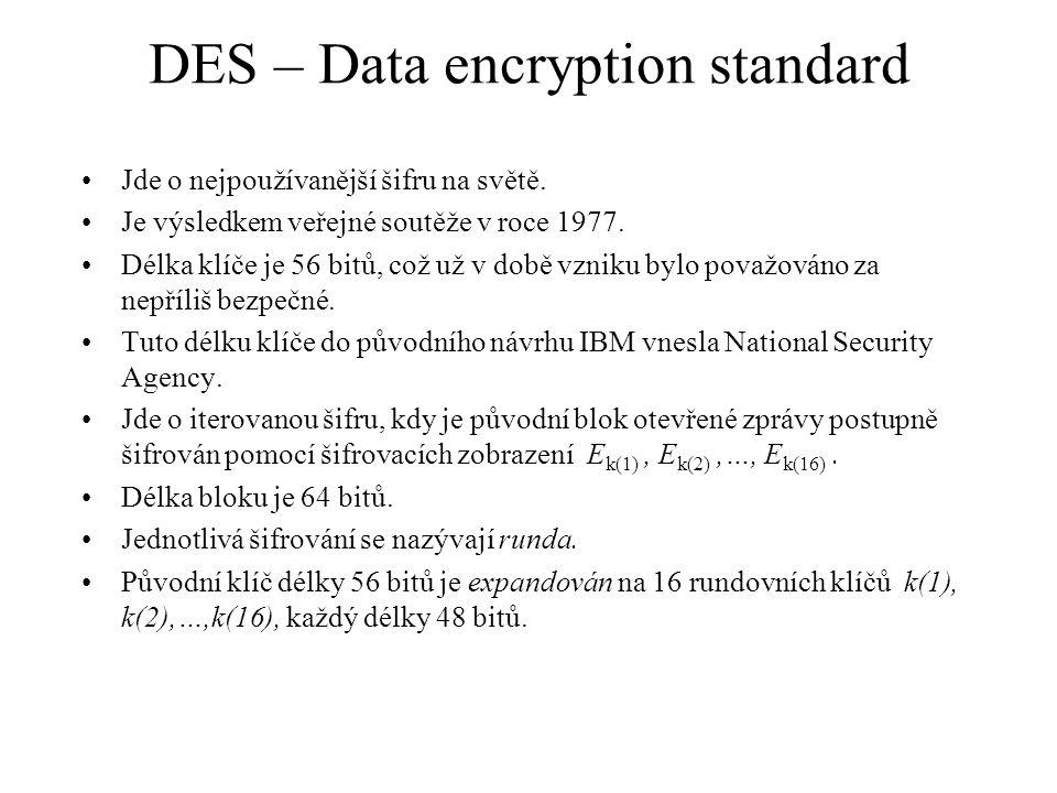 DES – Data encryption standard Jde o nejpoužívanější šifru na světě.