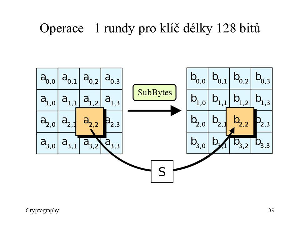 Cryptography39 Operace 1 rundy pro klíč délky 128 bitů