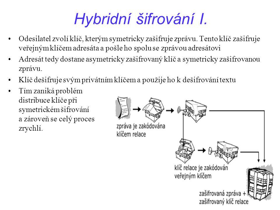 50Přednáška IPE dne 6.12.2005 Hybridní šifrování I. Odesilatel zvolí klíč, kterým symetricky zašifruje zprávu. Tento klíč zašifruje veřejným klíčem ad