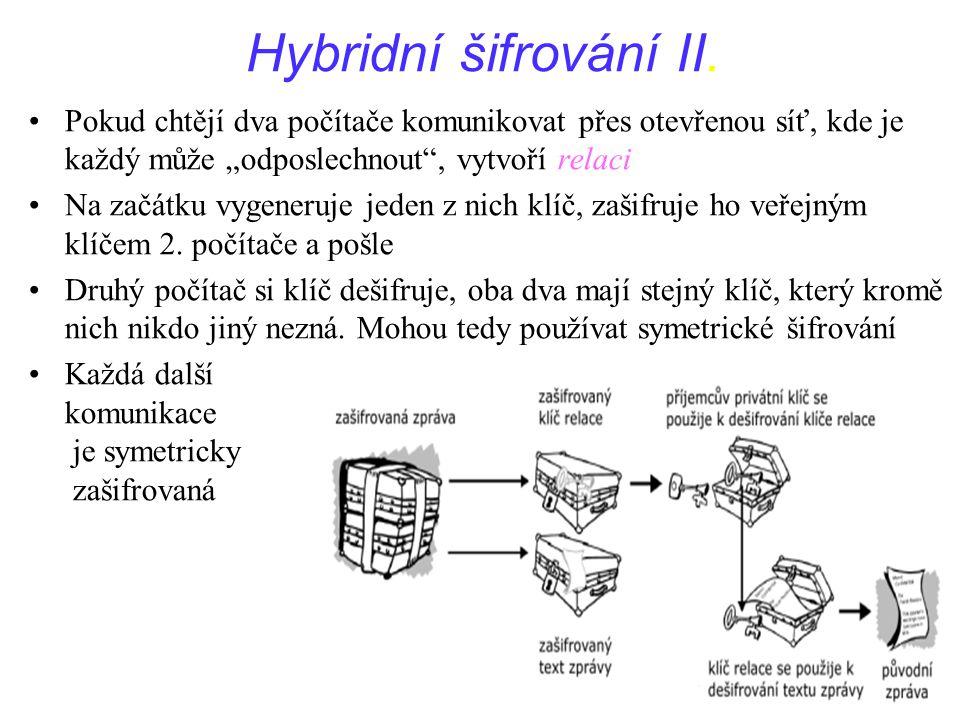 """51Přednáška IPE dne 6.12.2005 Hybridní šifrování II. Pokud chtějí dva počítače komunikovat přes otevřenou síť, kde je každý může """"odposlechnout"""", vytv"""